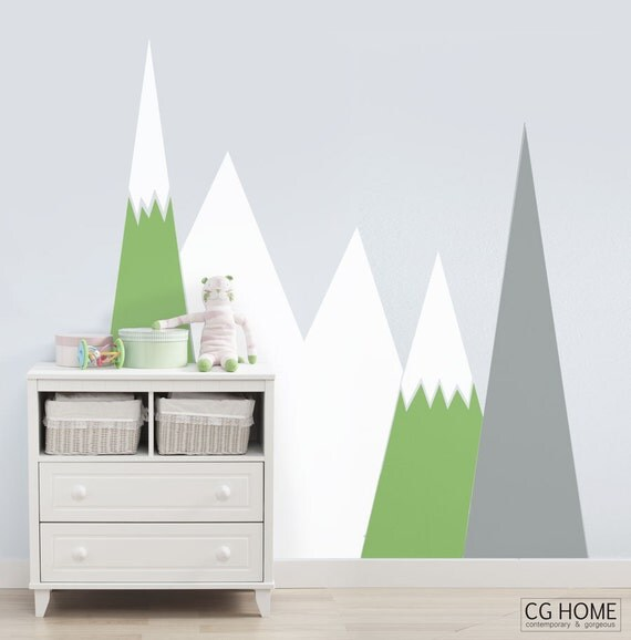 Pastel headboard MOUNTAIN Wall Decal Snow mountains Lime Tree Green Customized washable self adhesive sticker scandinavian Nursery Decor
