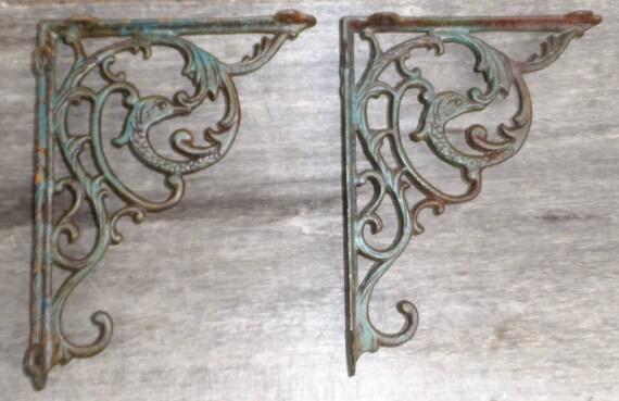 Antique Pair Victorian Large Cast Iron Shelf Brackets W/ Birds