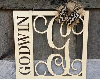 20 wooden monogram door hanger family monogram wedding gift housewarming gift