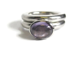 Unusual Amethyst Wedding Bridal Ring Set Sterling Silver Size 5.5 Rounded
