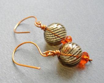 Lampwork earrings/ Orange earrings/ Glass earrings/ Chez glass earings