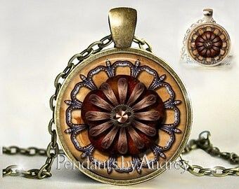 Industrial,Chic,Steampunk,Necklace,Medallion,Jewelry,Pendant,Steam Punk,Gears,Gothic,Rock,Gift,Gift for,Picture,Glass,Victorian