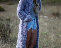 Boho long sweater coat, lavender hand knit wool blend chunky sweater, long chunky knit coat, soft and fluffy cardigan