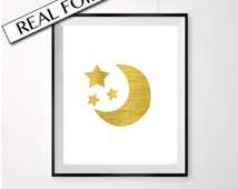 Moon and stars baby print, gold stars poster, real gold foil nursery art, wall decor, moon and stars foil print, cute baby posters
