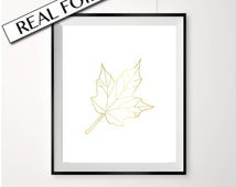 Maple leaf print, GOLD FOIL, Canada poster, Canadian art, real foiled print, gold leaf poster, maple leaf art, print with maple leaf