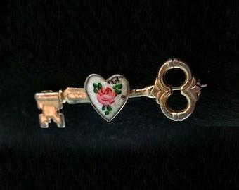 Vintage Key Heart Rose Flower Broach Pin