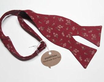 Freestyle Brick Red Bow Tie - Floral Bow Tie - Handmade Men's Bow Tie - Self-Tie Bow Tie - Burgundy Bow Tie - Calico Bow Tie