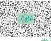 "Custom Monogram Name Fabric Material for Applique, ITH, & Craft Projects.  Full 18""x12"" or Half 12""x8"""