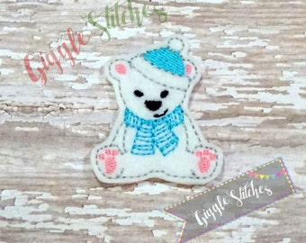 Christmas Polar Bear Feltie Embroidery Design