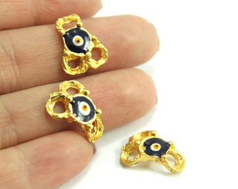 5 pcs Gold Evil Eye Slider Charm, (16mm x 12mm) Gold Evil Eye Charm, Gold Plated Evil Eye, 24k Gold Bracelet Components, Gold Charm Findings