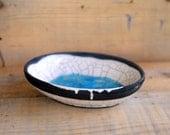 raku oval plate modern, black withe turquoise handmade ceramic