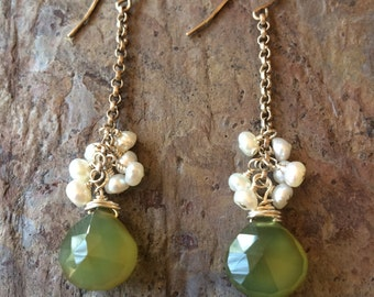 Chalcedony gemstone and freshwater pearl silver dangle earrings