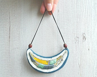 Feather necklace, textile bib necklace, feather pendant, embroidery necklace / embroidered pendant, hand painted necklace, polymer clay