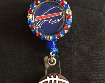 Buffalo Bills Retractable I.D. Badge Holder, ID Badge Holder, Nurse Badge Reel, Name Badge Reel, Name Badge Holder, ID Badge Reel