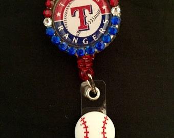 Texas Rangers tractable I.D. Badge Holder, ID Badge Holder, Nurse Badge Reel, Name Badge Reel, Name Badge Holder, ID Badge Reel