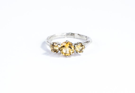 Citrine twig engagement ring, citrine sterling silver ring, November birthstone ring
