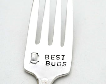 Engraved Fork Hand Stamped Silverware Best Buds, Funny Personalized Flatware, Gift For Best Friend, Gifts Under 15