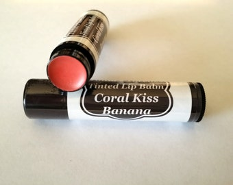 Coral Kiss Tinted Lip Balm Colored chapstick in Banana Flavor Coral LipStick