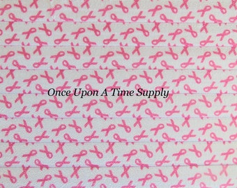 Pink Ribbon Print Fold Over Elastic for Baby Headbands - 5 Yards of 5/8 inch FOE - Elastic By The Yard - Breast Cancer Awareness Supplies