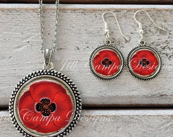 Poppy Flower Necklace and earring set, Red poppy, poppy necklace pendant, art pendant, poppy jewelry, flower jewelry, Mother's Day gift