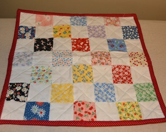 """Patchwork Doll Quilt made with Moda's 30's Playtime Fabrics 14 1/2"""" Square"""