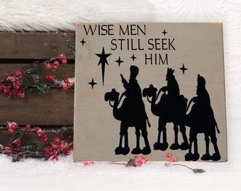 "Wise Men Still Seek Him Christmas Vinyl Wooden Subway Art Sign 12"" x 12"".  Holiday Decor, Holiday wall art, Christmas signs, nativity signs"