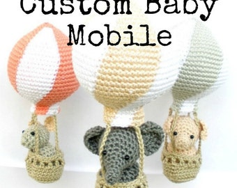Custom baby mobile, personalized hot air balloon mobile, ooak baby mobile