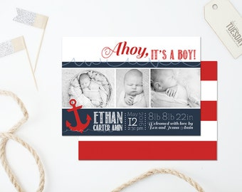 Baby Boy Birth Announcement Card - Nautical Birth Announcement Card - New Baby Announcement Card - Ahoy, It's A Boy! Birth Announcement