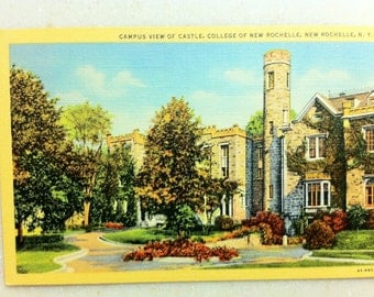 Vintage NY Postcard College of New Rochelle New Rochelle N.Y. Campus View of Castle