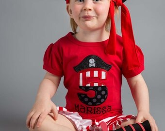 Girl Pirate Birthday Shirt with Number and Embroidered Name