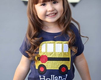 Girl School Shirt with Glitter School Bus and Embroidered Name