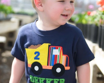 Boy's Dump Truck Birthday Shirt with Number and Embroidered Name