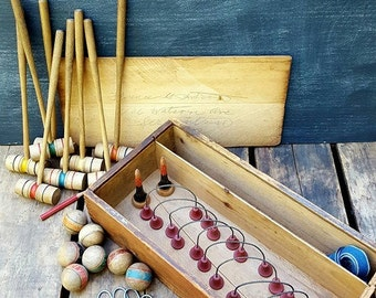 Vintage Parlor Table Croquet Set, Mini Croquet Indoor Game