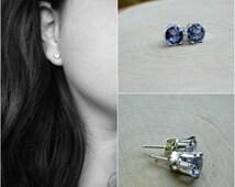 Sterling Silver Alexandrite Earrings Color Changing Gemstone 925 Stud Earring June Birthstone 6MM Gem Everyday Delicate Womens Birthday Gift