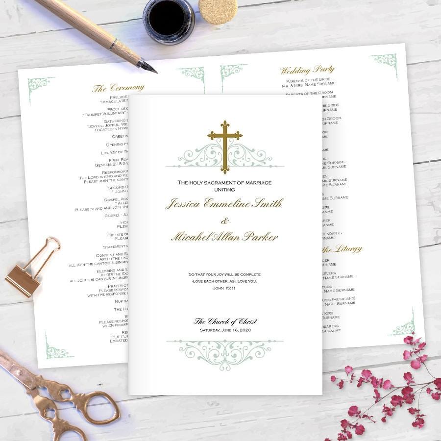 Catholic Wedding Ceremony Program: DIY Catholic Wedding Programs Catholic Program Templates MS
