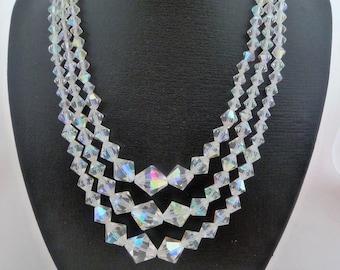 Triple Strand Aurora Borealis Graduated Bicone Crystal Bead Vintage Necklace With Rhinestone Clasp