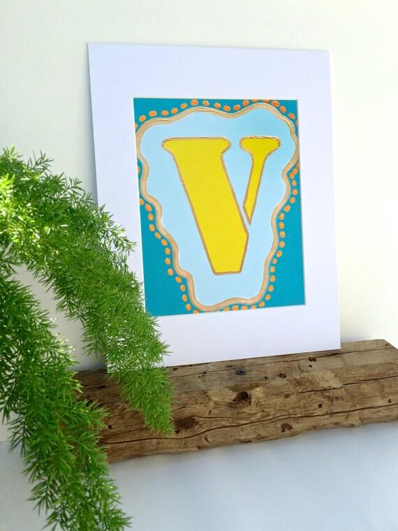 Wall Decor Letter V : Letter v wall art nursery name letters initial print