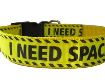 "I Need Space Dog Collar on 1"" OR 3/4"" wide Yellow Nylon Webbing (Adjustable Sizes)"