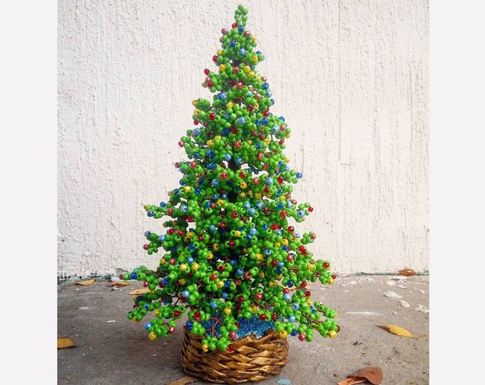 Beaded Christmas tree - New Year gift - Christmas gift - seed bead tree - artificial Christmas tree - decorated pine tree