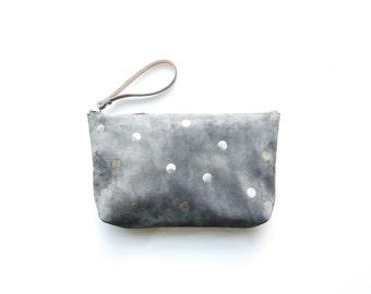suede clutch grey handprinted polka dot