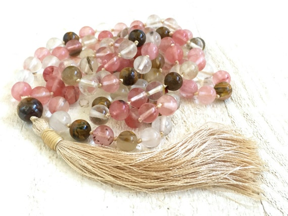 Cherry Quartz Tassel Necklace, Long Tassel Necklace, Bohemian Necklace, Gypsy Style Jewelry, Tassel Mala Beads, Yoga Meditation Beads
