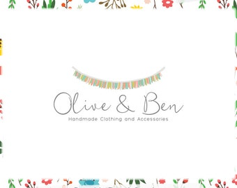 Bunting Logo Design for Web and Print Files Included - Limited Edition! Perfect for Party Planner, Boutique, Photographer, Children's Shop
