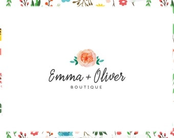 Watercolor Floral Premade Logo Design - Web and Print - Limited Edition! Perfect For Photographer, Boutique, Blog, Florist, Stylist & more