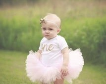 "Pink and Gold First Birthday Outfit - Gold Script ""one"" Outfit With Light Pink Tutu and Gold Glitter Bow - Pink & Gold Birthday"