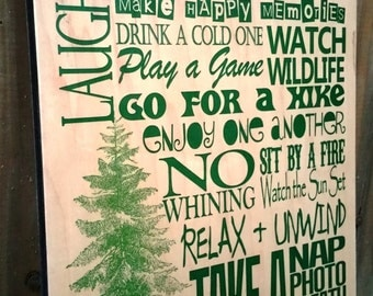 Pine Cabin Rules - Can Be Personalized - Great Father's Day Gift for Dad!