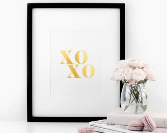 XOXO, Real Gold Foil Print, A4 Typographic Print, Wall Art