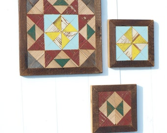 wooden barn quilt set, salvaged barn quilt, barn quilt block