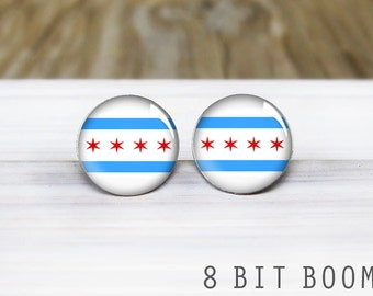 Chicago Flag Stud Earrings - Chicago Pride - Hypoallergenic Earrings for Sensitive Ears