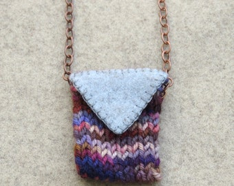 Knitted Amulet Pouch Necklace