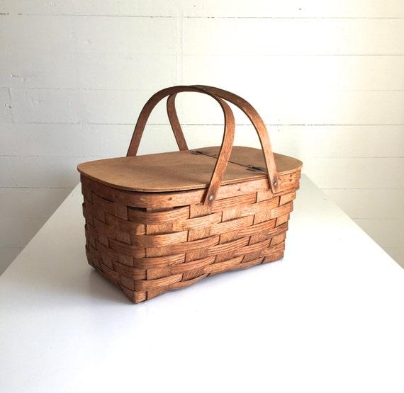 Wooden Picnic Basket Set : Vintage picnic basket wood weave wooden handles flip